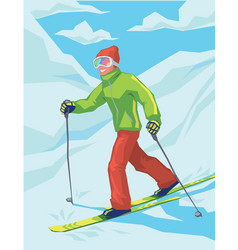 Young active man skiing in mountains vector