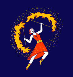 Young woman character fire show performer wearing vector