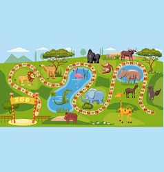 zoo board game with numbers for children lion vector image