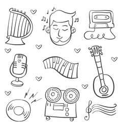 collection doodle musical instrument theme vector image vector image