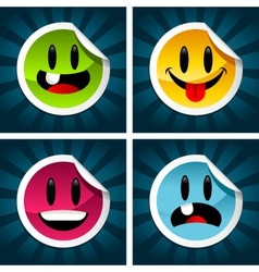 happy smiling stickers vector image