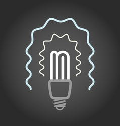 Lighting energy save lamp on dark background vector image
