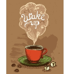 Wake up coffee cup vector image