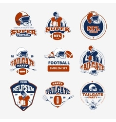 American football rugby color emblems set vector image