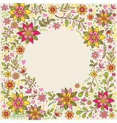 Floral frame with flowers and place for text vector image