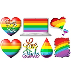 Love and pride with hearts and rainbow objects vector image vector image