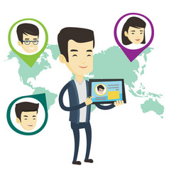Man holding tablet with social network vector