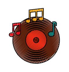 music vinyl disk note music sound vintage vector image