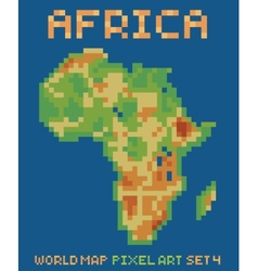 pixel art style of africa physical world map vector image