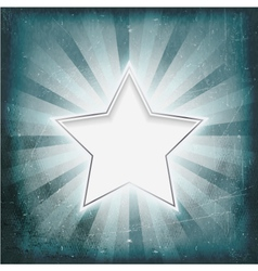 Silver rimmed star on aged light rays parchment vector image vector image