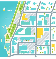 Abstarct map of coastal town area design vector