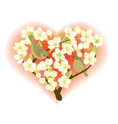 Birds on flowering branches vector image