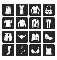 Black Clothing and Dress Icons vector image vector image