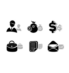 Icons set in black for business and finances vector image