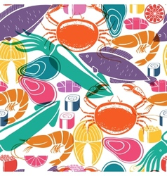 Fish and seafood background seamless pattern vector image
