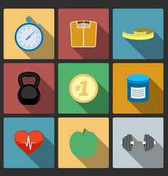 Fitness healthy lifestyle icons set vector