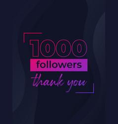 1000 followers banner for social media vector
