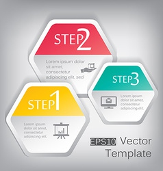 3d paper hexagon elements for infographic vector image