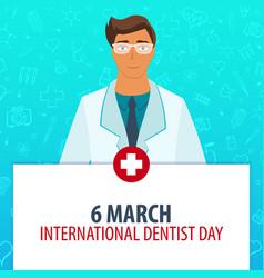 6 march international dentist day medical vector