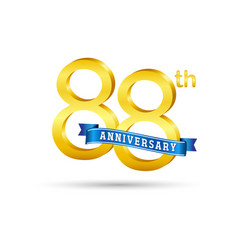 88th golden anniversary logo with blue ribbon vector