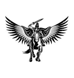 ancient warrior riding a pegasus vector image
