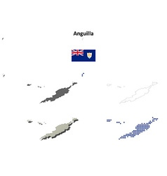 Anguilla outline map set vector image