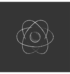 Atom Drawn in chalk icon vector image