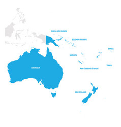 Australia and oceania region map of countries in vector