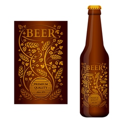 beer label with floral ornament vector image