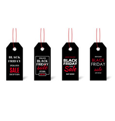 black friday price tag set isolated on white vector image