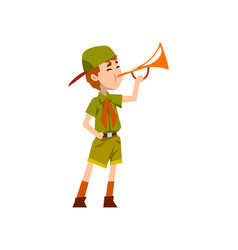 Boy scout character in green uniform playing vector
