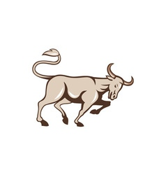Bull Charging Side Cartoon vector