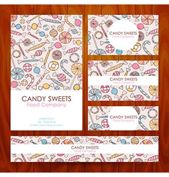 Candy Food Company Business Set Template with Hand vector image