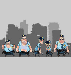 Cartoon group of diverse men in police uniforms vector