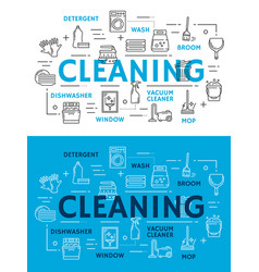 Cleaning equipment for housework line art posters vector