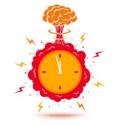 clock with atomic bomb vector image