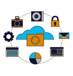 cloud computing folder reload items vector image