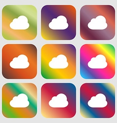 Cloud icon Nine buttons with bright gradients for vector