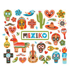 collection of mexican national attributes isolated vector image