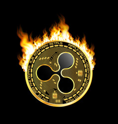 Crypto currency ripple golden symbol on fire vector