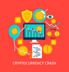 Cryptocurrency crash flat concept vector