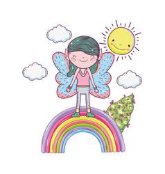 cute little fairy with rainbow and sun vector image