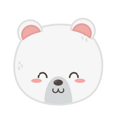 cute polar bear head on white background vector image