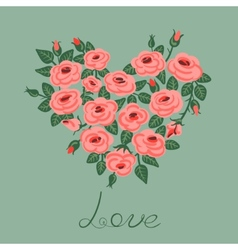 Cute vintage roses arranged in a heart shape vector image