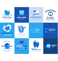 Dental tooth logo dentist clinic logotype vector