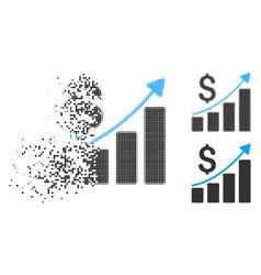 Disintegrating pixelated halftone financial bar vector