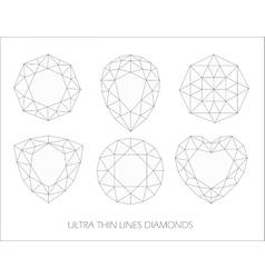 elegant ultra thin line diamonds icons logo set vector image