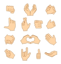 Empty hands holding protect giving gestures icons vector