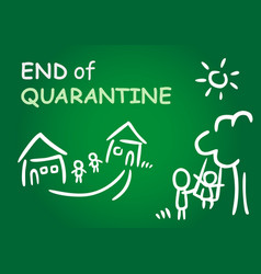end quarantine with house happy family vector image