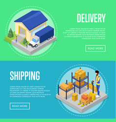 fast delivery and freight shipping set vector image